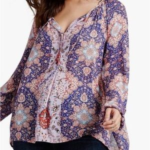 Lucky Brand Plus Size Woven Peasant Top